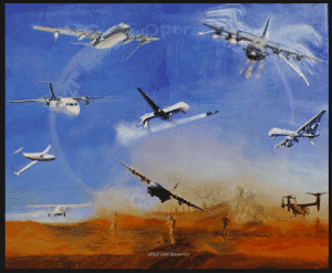 """Elite Engagement "" original painting by Artist Todd Krasovetz now hangs at Cannon Air Force Base in New Mexico."