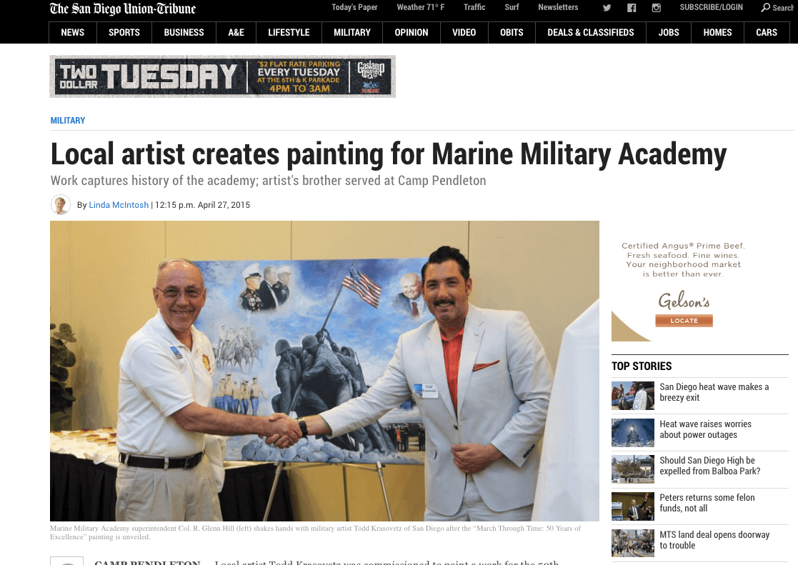 Local artist creates painting for Marine Military Academy