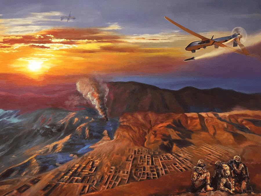 Military Art MQ-1 Predator USAF Original Oil Painting Titled Dragon Dawn Limited Edition Prints Available Art by Todd Krasovetz