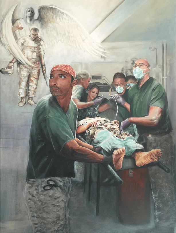 Military Art with Hero Ascending Oil on Canvas Navy Surgical Unit and Angels by Todd Krasovetz