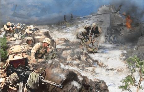 Military Art - Battle At Roberts Ridge by Todd Krasovetz